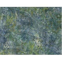 Leaves and Circles Lt Blue and Green Batik
