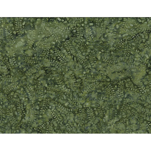 Leaves and Circles Forest Green Batik