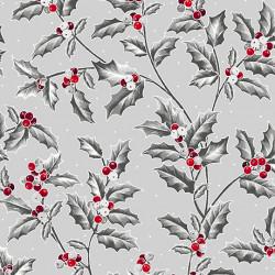 Pretty Poinsettias Holly Vine/Grey