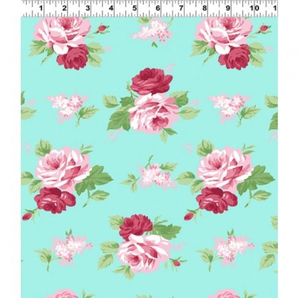 Janey Roses on Blue