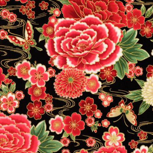 Black Asian Inspired Floral-Red