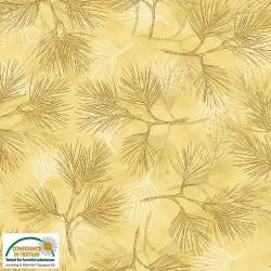 Magic Christmas Pine Leaves on Gold