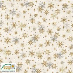 Magic Christmas Silver/Gold Snowflakes on Cream