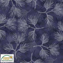 Magic Christmas Silver Pine Needles on Blue