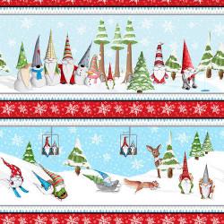 Gnomes Through the Snow Border Stripe