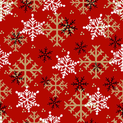 FLANNEL Timber Gnomes Snowflakes on Red
