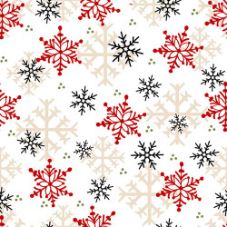 FLANNEL Timber Gnomes Snowflakes on White