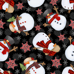 FLANNEL Timber Gnomes Tossed Snowman on Black