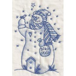 Birdseed Snowman Bluework