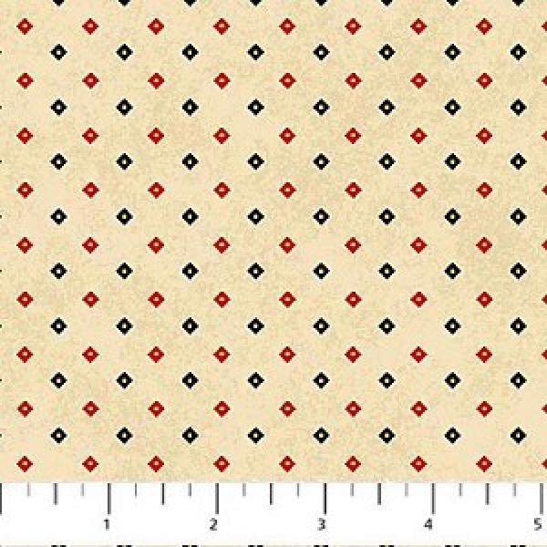 Flannel Mountain Lodge--Cream w/Red and Black Diamonds,