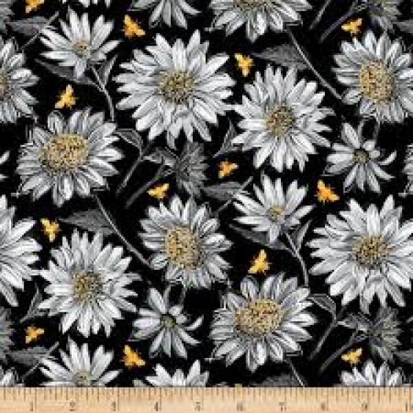 A Bee's Life--Daisies in Black