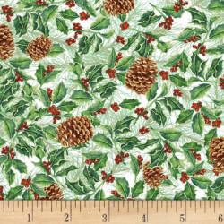 Ivy/Pinecones on White