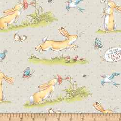 Flannel Bunnies on Gray