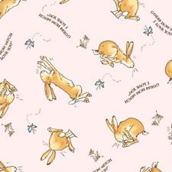 Bunny/Words on dark Pink Flannel