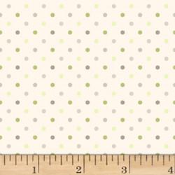Flannel Gray/Green Dots on Cream