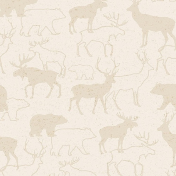 Flannel Woodland Retreat Deer on Cream
