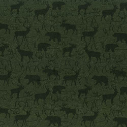 Flannel Woodland Retreat Deer pm Green