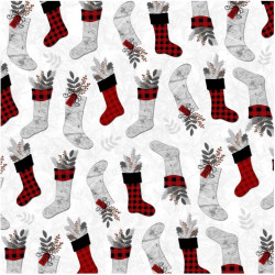 Holiday Homecoming Stockings on White