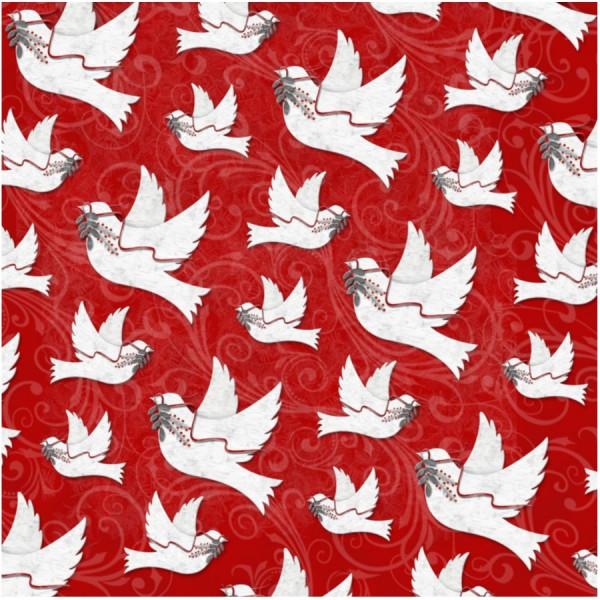 Holiday Homecoming Doves on Red