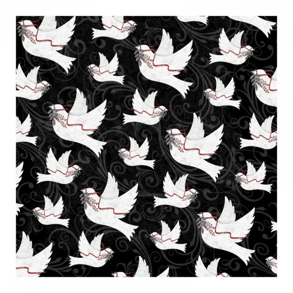 Holiday Homecoming Doves on Black