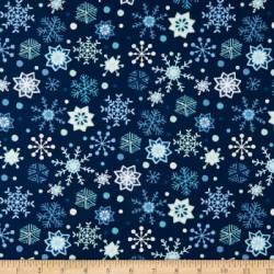 Snow Happy Snowflakes on Navy