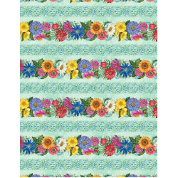Blossom and Bloom Big flower/Teal Boarder