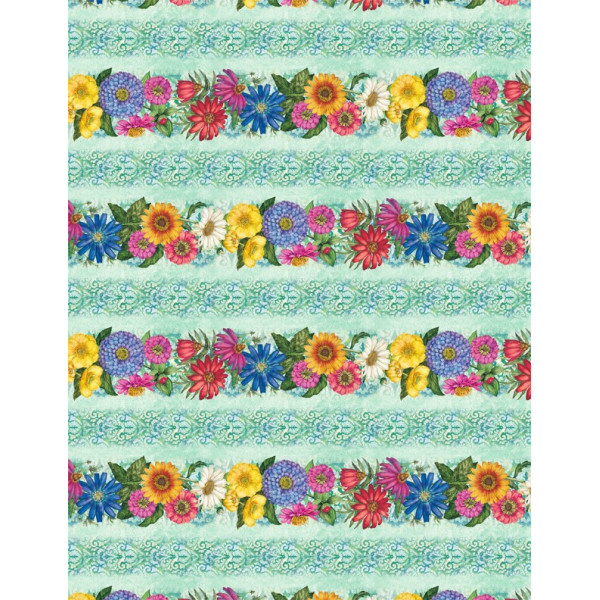 Blossom and Bloom Big flower/Teal Border