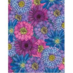 Blossom and Bloom Big flowers on blue/purple