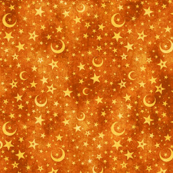 Intergalactic Moon and Stars on Orange